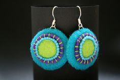Felt & glass bead earrings