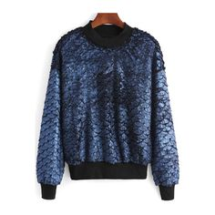 SheIn(sheinside) Blue Round Neck Fish Scale Patterned Sweatshirt (€17) ❤ liked on Polyvore featuring tops, hoodies, sweatshirts, blue, sweat shirts, sweatshirt hoodies, blue print top, round neck top and blue sweatshirt