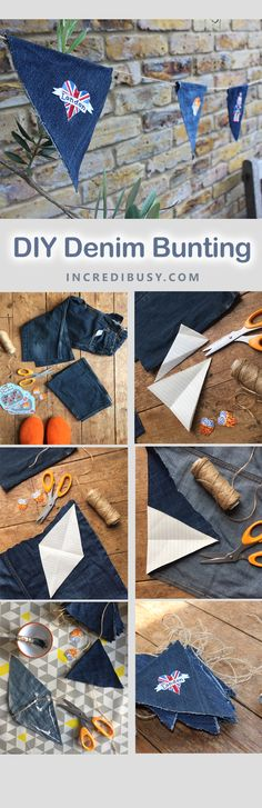 DIY DENIM Bunting - make this string of flags quickly and simply - No SEW, and great upcycling project for your old denim blue jeans. Enjoy!