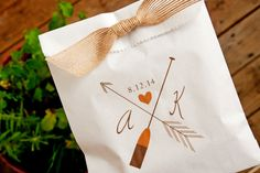 Printed white paper favor bags with a wax paper food liner - Add your initials and date. Perfect for homemade cookies or add your own special wedding