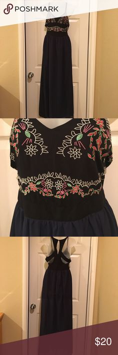 Rich Coco Bohemian Maxi 🌸 Gorgeous Bohemian Maxi with black halter style top embroidered with a floral design... long navy blue sheer bottom with slits up both thighs and a short skirt lining Rich Coco Dresses Maxi