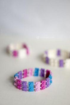 DIY Lego Bracelet, Tutorial by Meghan Cooper Lego Jewelry, Kids Jewelry, Jewelry Crafts, Handmade Jewelry, Jewelry Making, Lego Friends Birthday, Lego Friends Party, Lego Birthday Party, Diy Lego