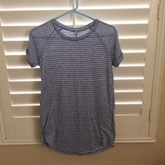 T SHIRT DRESS Simple light blue and white striped t shirt dress, in good condition :) Dresses