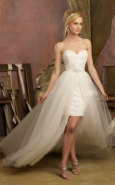 #Strapless #Sweetheart Front Short Lace Bodice Long Tulle Flared #Wedding Dress