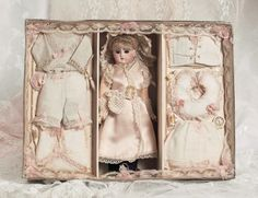1891.The French Lieutenant's Bride : 41 All-Original Petite Bebe Steiner with Trousseau
