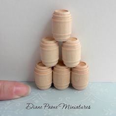 Set of 6 SMALL Barrels NATURAL Wood Whiskey Wine Rum Pickle Dollhouse Miniature