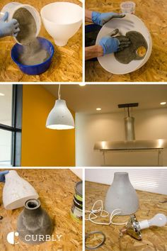 IKEA Hack: How to Make a Modern Concrete Pendant Lamp - diy furniture modern Concrete Light, Concrete Lamp, Beton Design, Concrete Design, Diy Design, Design Art, Concrete Crafts, Concrete Projects, Diy Projects