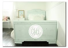 Monogrammed vinyl decal - can be put anywhere in childs room but looks great on their beds footboard#Repin By:Pinterest++ for iPad#