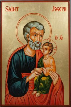 High quality hand-painted Orthodox icon of St Joseph and Child Jesus Large. BlessedMart offers Religious icons in old Byzantine, Greek, Russian and Catholic style. Religious Images, Religious Icons, Religious Art, St Joseph Catholic, Catholic Saints, Byzantine Icons, Byzantine Art, Paint Icon, Religious Paintings