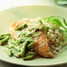 Chicken & Asparagus with Melted Gruyere - EatingWell.com