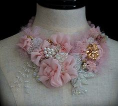 PINK LADY Statement Bib Neckpiece by carlafoxdesign on Etsy, $225.00