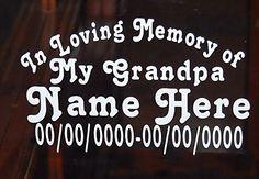 In Loving Memory of My Grandpa Vinyl Decal Auto Window Sticker Set of 2