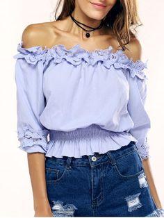 c9e05de9c6a53 Agraciado Off-The-Hombro con volantes blusa para las mujeres Olanes