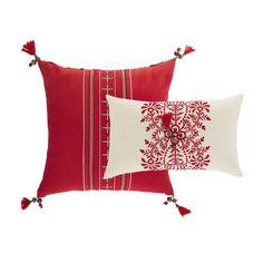 2 coussins en coton rouge et écru 40 x 40 cm et 30 x 50 cm SHARMILA