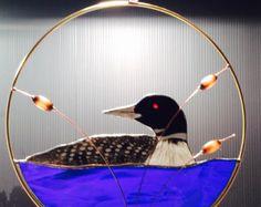 Great Blue Heron stained glass suncatcher panel by BirdsAndBugs1
