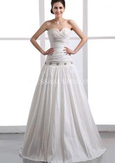d83d99d07f0 A-Line Ivory Ruched Bodice Beading Taffeta Floor Length Wedding Dresses  Gowns Wedding Dresses Australia