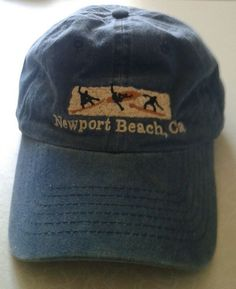 af18339c9c4128 Newport Beach CA Baseball Cap Embroidered Surfers Faded Blue Flexible  Strapback #fashion #clothing #