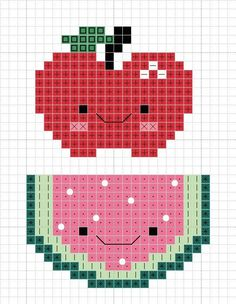 Here a a couple of adorable cute kawaii fruits for your cross stitching pleasure! Kawaii Cross Stitch, Cross Stitch Fruit, Cross Stitch Kitchen, Cute Cross Stitch, Beaded Cross Stitch, Cross Stitch Charts, Cross Stitch Designs, Cross Stitch Embroidery, Embroidery Patterns
