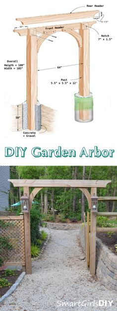 Family Handyman Inspired Garden Arbor - Built by Smart Girls DIY garden inspiration Diy Garden, Garden Landscaping, Home And Garden, Family Garden, Garden Pool, Wooden Garden, Landscaping Ideas, Wooden Fence, Quick Garden