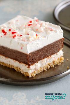 Délice étagé choco-menthe #recette Kraft Recipes, Kraft Foods, Layered Desserts, Christmas Desserts, Christmas Baking, Christmas Eve, Holiday Baking, Christmas Treats, No Bake Desserts