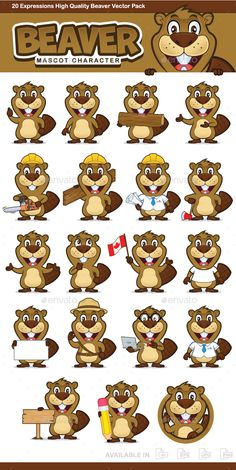 #Beaver Mascot #Character - Animals Characters Download here:  https://graphicriver.net/item/beaver-mascot-character/19697676?ref=alena994