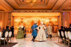 Marie Antoinette dancers entertained guests at this themed #wedding | Photography: Ikonica | WedLuxe Magazine #luxurywedding