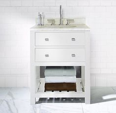 Hutton Powder Room Washstand White - contemporary - bathroom vanities and sink consoles - other metro - by Restoration Hardware