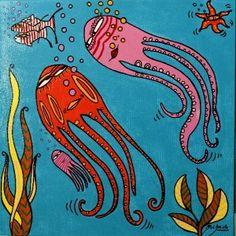 OBRAS : Claudio Baldrich Artista Plastico Folk Art, Rooster, Art Gallery, Baby, Painting, Animals, Naive Art, Octopuses, Initials