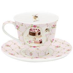 Taza de té con plato Sweet de Gourmet Party, 16 x 16 cm
