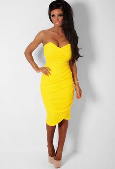 Antidote Yellow Textured Wrap Effect Bodycon Midi Dress Pink Midi Dress, Rose Dress, Yellow Dress, Midi Skirt, Bodycon Dresses Uk, Midi Dresses, Fashion Company, Strapless Dress, Party Dress