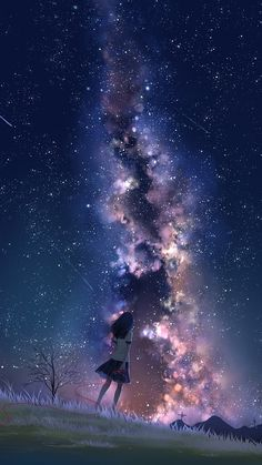 Milky way at night Milky way at night … - Tier Hintergrund Iphone Anime Backgrounds Wallpapers, Anime Scenery Wallpaper, Pretty Wallpapers, Animes Wallpapers, Iphone Wallpaper Sky, Night Sky Wallpaper, Wallpaper Space, Sky Anime, Anime Galaxy