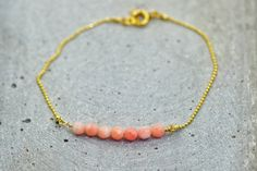 Gold Armband, Delicate, Vintage, Bracelets, Jewelry, Pink, Minimalist, Handcrafted Gifts, Beads