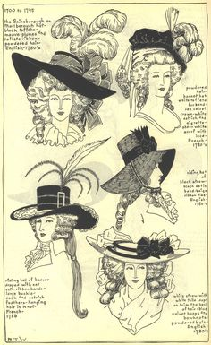 French and English Ladies Hats, 1780's  This is from a wonderful book on the history of Millinery book. The drawings were made by researching original paintings