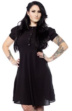 TRIPP+BABY+DOLL+DRESS+BLACK+-+Wednesday+Addams+might+even+smile+wearing+this+super+fun+and+flirty+dress+by+Tripp+NYC.+This+classic+styled+dress+features+a+textured+collar+and+sleeve+cuffs,+short+puffy+sleeves,+front+buttons,+and+zipper+back.+   Startling approach