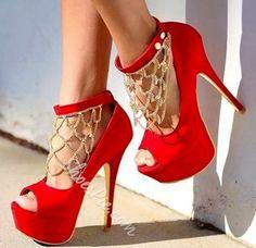 Gorgeous Suede Platform High Heel Shoes with Rhinestone Decoration