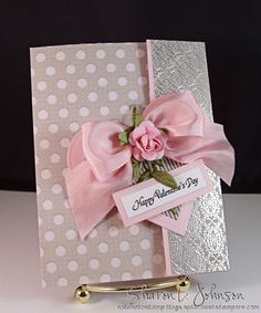 Such a pretty Valentine's Card...with pink satin bow & rose - wouldn't this be pretty for a wedding card too?