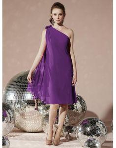 Discount Simple Chiffon One Shoulder Pleats Short Bridesmaid Dress [bridesmaid210] - US $171.99 : IdoDress