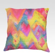 BOLD QUOTATION in Neons Fine Art Velveteen Throw Pillow, Decorative Chevron Ikat Home Decor Colorful Fine Art Toss Cushion, Modern Bedroom Bedding Dorm Room Living Room Style Accessories  by EbiEmporium, $75.00