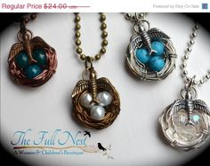 Back To School Sale- Handmade birthstone necklace bird nest necklace mother gift jewelry wire wrapped silver brass bronze 5-8 eggs large ne