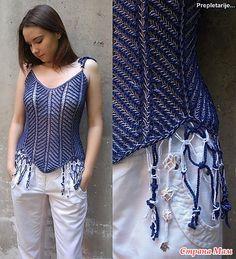 Ravelry: FishBone pattern by Dejana Knezevic Crochet Summer Tops, Summer Knitting, Hand Knitting, Knitting Patterns, Knit Crochet, Top Azul, Chevron, Ravelry, Knitted Coat