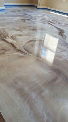 My Beautiful Mettalic concrete stain floors in my beauty Art Studio by Glen Coul. - epoxy floor - My Beautiful Mettalic concrete stain floors in my beauty Art Studio by Glen Coulson in Las Vegas, h - Kitchen Flooring Options, Best Flooring For Kitchen, Basement Flooring, Basement Remodeling, Cork Flooring, Budget Flooring Ideas, Plywood Floors, Laminate Flooring, Bedroom Flooring