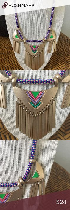 Boho Navajo Inspired Beaded Necklace Gorgeous Navajo Inspired gold tone necklace, so pretty! Love this necklace, but too many :( Never worn, looking for a good home. Excellent condition! Anthropologie Jewelry Necklaces