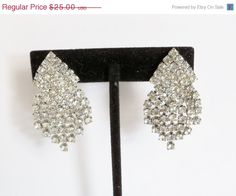 Vintage Rhinestone Earrings Celebrity Wedding Bridal Party Glam Jewelry Jewellry April Birthday 60th Anniversary Special Occasion Gift