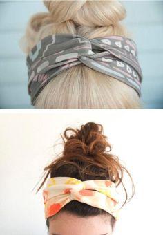 Quick ponytail or bun + DIY headband = ready for class!