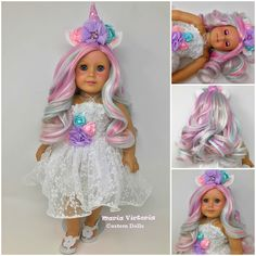 Rainbow Unicorn American Girl Doll by Maria Victoria Custom Dolls Unicorn Princess, Disney Princess, American Girl Hairstyles, Costumes Couture, Doll Hair, Rainbow Unicorn, Custom Dolls, Victoria, Harajuku