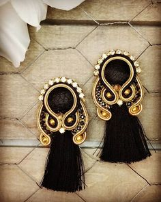 soutache gorgeous long earrings for night out in black and gold colors. Soutache Earrings, Black Earrings, Boho, Jewelry Accessories, Brooch, Jewellery, Tags, Night, Create