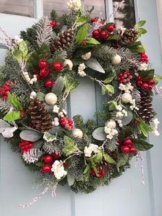 Berries and Pinecones Winter Wreaths winter wreaths for front Winter Wreaths, Summer Wreath, Holiday Wreaths, Wreath Fall, Christmas Centerpieces, Christmas Decorations, Holiday Decor, Front Door Decor, Wreaths For Front Door