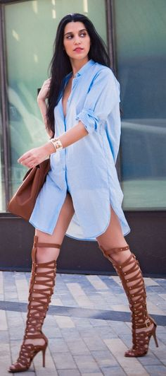 Blue Shirt Dress And Camel Gladiators Streetstyle ok. over kill on the gladiators can't slay any dragons that way 2015 Fashion Trends, Fashion 2016, Blue Shirt Dress, Event Dresses, Street Chic, Everyday Fashion, Casual Wear, Women Wear, Cute Outfits