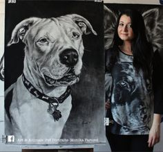 """Pit bull """"Teddy"""" from New Jersey drawing at paper size 100x70cm"""