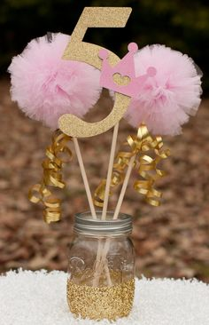 Pink and Gold Birthday Decorations – Princess Centerpiece – Pink and Gold Centerpiece with Custom Number and Pom Pom Wands - Birthday Party 2 Unicorn Birthday, Unicorn Party, Girl Birthday, Birthday Table, Birthday Ideas, Birthday Crowns, Birthday Diy, 1st Birthday Princess, Gold Party